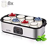 Joghurtbereiter mit Timer bis 48 Stunden, 8x200ml Glasbehälter für je 190ml Joghurt geeignet, Temperatureinstellung bis 55°C, geeignet für Sojamilch, Leistung 30 Watt