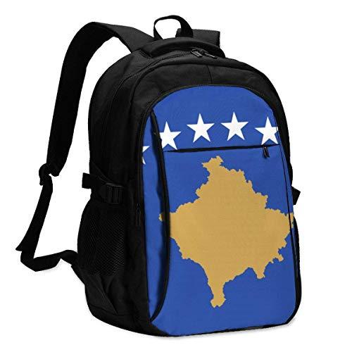 XCNGG Bandera de Kosovo Mochila para portátil de Viaje Mochila Escolar universitaria Mochila Informal con Puerto de Carga USB