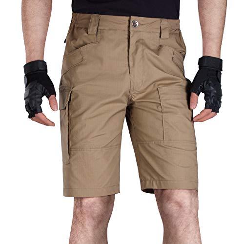 Free Soldier - Pantalones cortos tácticos de carga para hombre, ajuste relajado, resistentes al agua, para trabajo, senderismo (marrón oscuro, 36 W/11 L)