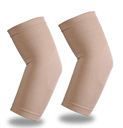 Elbow Brace Compression Sleeve, Lightweight Arm Compression Sleeves with 20-30mmHg Instant Strong Support, Best for Tennis & Golfers Elbow, Tendonitis, Arthritis, Baseball, Joint Pain Relief, Beige XL
