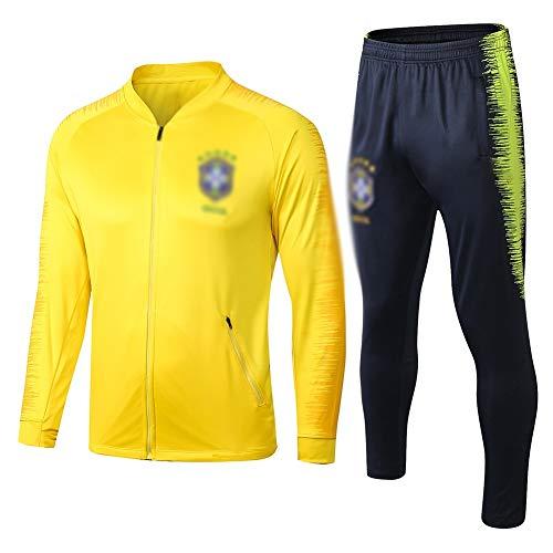 ZH~K Traje de entrenamiento de fútbol para adultos y jóvenes, sudadera de manga larga para correr, transpirable, parte superior y pantalones para hombre QL0191 sudaderas (color: amarillo, tamaño: XL)