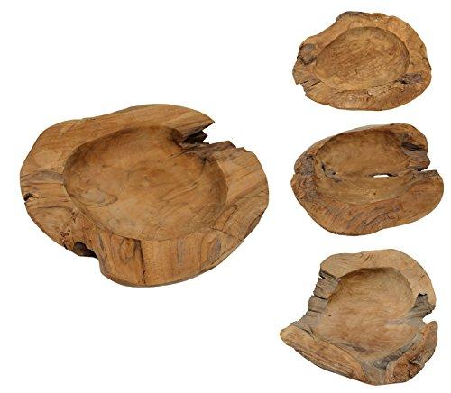 Unieke teakhouten schaal teakhout schaal fruitschaal houten schaal massief Ø40cm