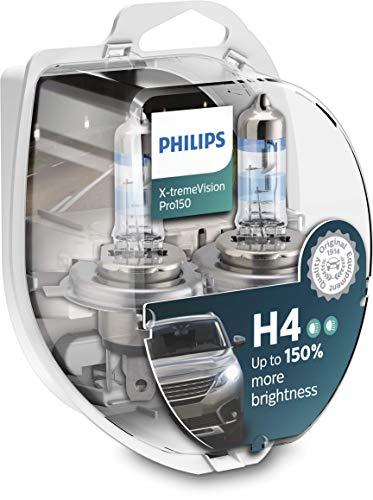 Philips X-tremeVision Pro150 H4 bombilla faros delanteros +150%, paquete doble