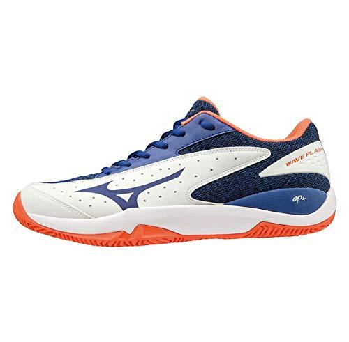 Mizuno Wave Flash CC, Zapatillas de Tenis para Hombre, Blanco (White/Reflex Blue/Nasturtium 27), 44 EU