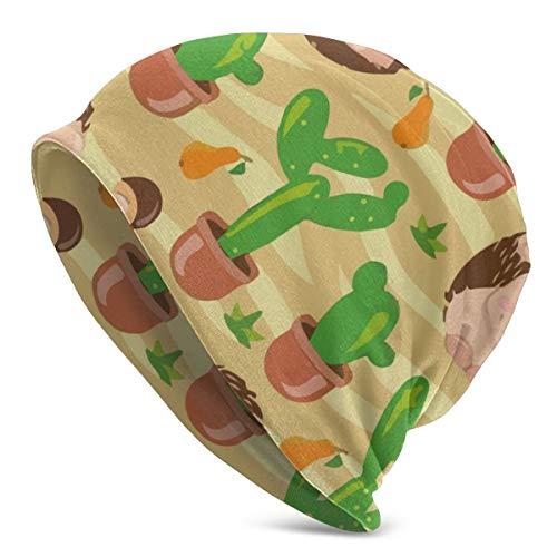 Amoyuan Egel Cactus Noodzaak Knuffel Beanie Slouch Winter Schedel Gebreide Mode Cap voor Mannen Vrouwen Zwart