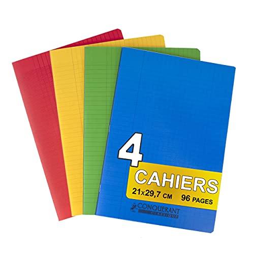 Oxford - Cuadernos con grapas A4 (21 x 29,7 cm, cuadriculados grandes, 96 páginas, 90 g)