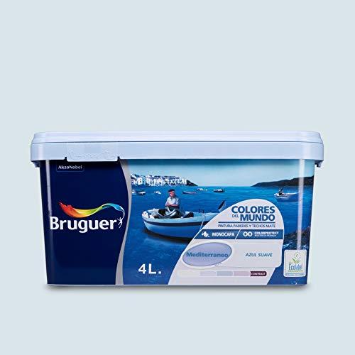 Bruguer Colores del Mundo Pintura para paredes monocapa Mediterráneo Azul Suave 4 L