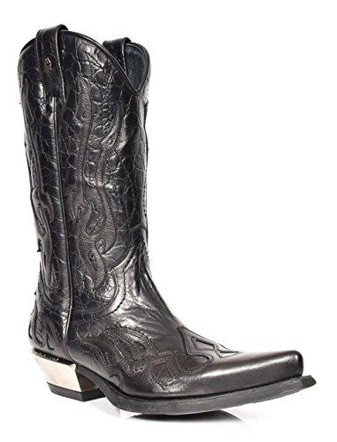 A17921S1 Bottes de cowboy en cuir véritable avec bout pointu pour homme Noir - Noir - Noir , 45 EU