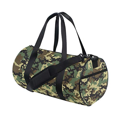 Rootti Sport-Turnbeutel, Militärgrün, Camouflage, Reißverschluss, Reisetasche, Reisetasche, Sporttasche, Tragetasche, Yoga-Tasche, wasserdichte Reisetasche für Männer, Frauen, Kinder, Erwachsene