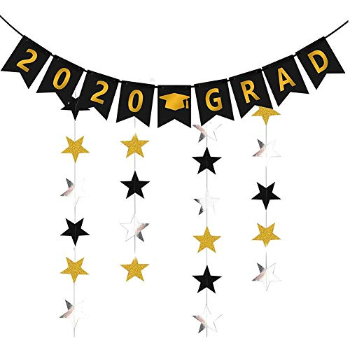 2020 Grad Graduation Banner (Assembled)with Black Gold Silver Star Garland Class of 2020 Gold Graduate Party Decorations,High School College Grad Decor, Graduation Party Favors Supplies