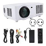 ASHATA Proyector HD, Proyector LED 1280x800 Resolución física 1080P HD Proyector doméstico Proyector Multimedia para Cine en casa/TV al Aire Libre Educación y enseñanza, Oficina Comercial(UE)