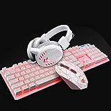 Bradoner Gaming Keyboard, Teclado USB Conjunto De Juego del Ratón del Ordenador De Luz De Fondo De Auriculares A Prueba De Agua Inicio Gaming Headset For LOL (Color : Pink)