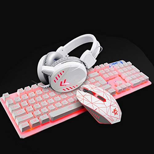 LaLa POP Gaming Keyboard, Teclado USB Conjunto De Juego del Ratón del Ordenador De Luz De Fondo De Auriculares A Prueba De Agua Inicio Gaming Headset For LOL (Color : Pink)