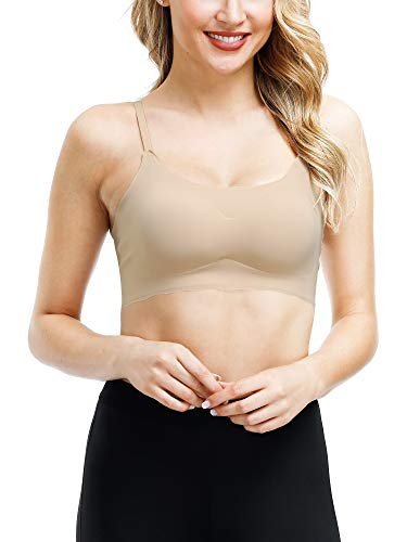 SATINIOR Sleep Bras Thin Soft Comfy Daily Bras Seamless Leisure Bras for Women (Skin Color, M)