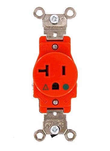 Leviton 5361-IG 20 Amp, 125 Volt, Narrow Body Single Receptacle, Straight Blade, Industrial Grade, Isolated Ground, Orange