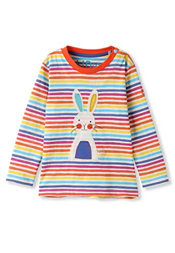 kIDio Organic Cotton Applique Baby Infant Toddler Long Sleeve Top - Bunny Rainbow Stripes - Girl Boy Tee Shirt Blouse [24M (18-24 Months)]