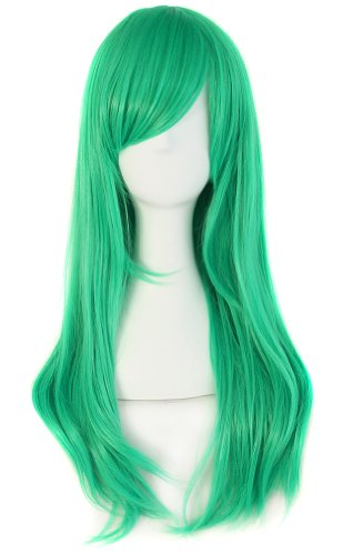 """MapofBeauty 24""""/60cm Side Bangs Stylish Long Great Wavy Curly Cosplay Party Wig (Gray Green)"""