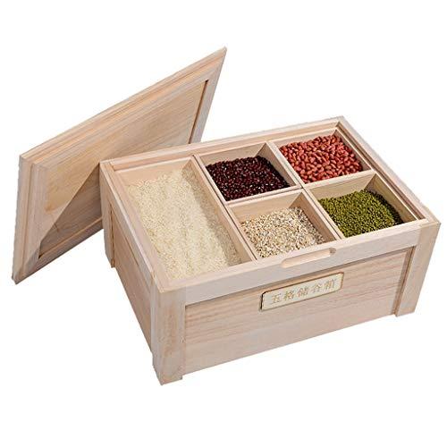 Distributeurs de céréales Seau à Riz Cylindre à Riz en Bois Massif résistant aux Insectes et à l'humidité Boîtes Alimentaires (Color : Wood, Size : 50 * 35 * 23.5cm/20 * 13 * 9inch)