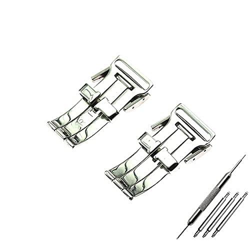 Hebilla,Desplegable Hebilla Hebilla Plegable de 20 mm es Adecuada para breitling beetling Buckle vengador de Acero Inoxidable Impermeable cinturón Logo Hebilla de Plata (Color : Silver 20mm)