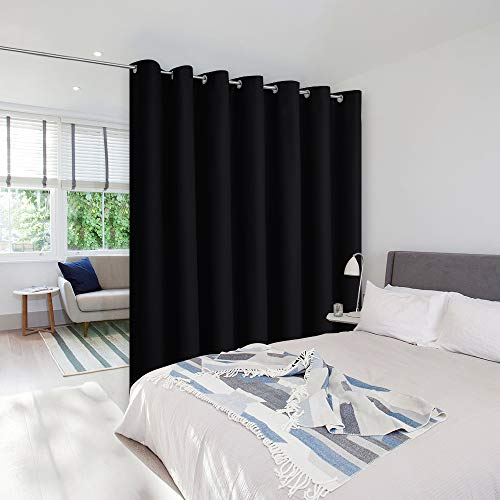 NICETOWN Lower Noise Room Divider Curtain Screen Partitions, Blackout Sound Reducing Divider Room Curtain Panel for Doorway/Glass Window/Sliding Door/Patio (1 Panel, 7ft Tall x 8.3ft Wide, Black)