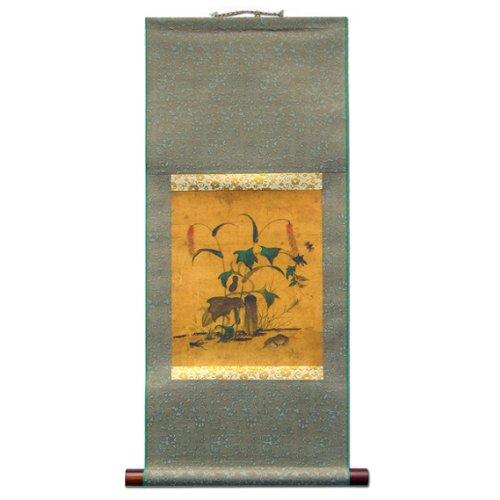 Pintura Desplegable Pepinillo y Rana Arte Interior Hecho a Mano Asia Oriental Pintura Coreana