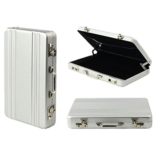 SODIAL(R) Card Case mini Koffer Formel Card Case(Silber)