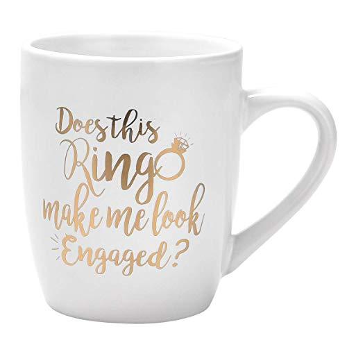 N\A aza de café Divertida ¿Este Anillo me Hace parecer comprometido? Taza de café Taza Divertida Taza de café novedosa Regalo para Mujeres Hombres Compromiso Aniversario Cumpleaños Navidad