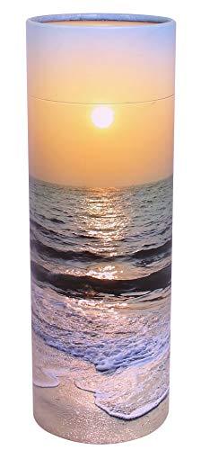 UrnsWithLove Verstreuen, umweltfreundlich, biologisch abbaubar, Urne zum Streuen (Strand Sonnenuntergang), Large