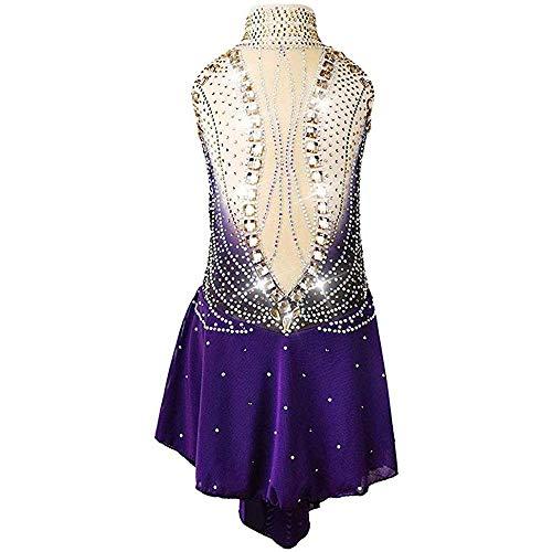 Eiskunstlauf Übungswettbewerb Kleid Strass Ärmellos Eiskunstlauf Kleid Mädchen High End Strass Skating Wear,Purple-Child16