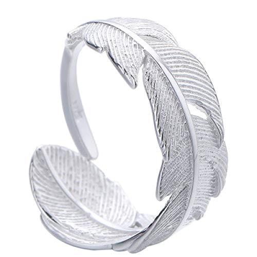 KUNZE Anillo de mujer, anillo de plata esterlina S925, anillo de plumas de moda, personalidad simple, anillo de hoja, joyería, para madre, para novia