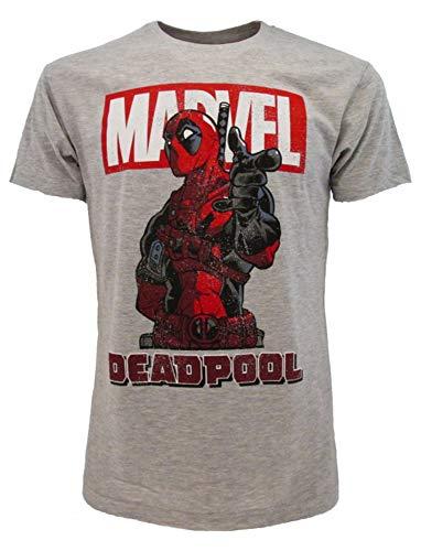 Camiseta Deadpool original gris, producto oficial Marvel, camiseta unisex gris XS