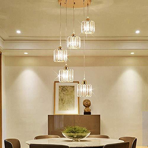 Hanglamp tinten moderne minimalistische kristal 5 lichtbron woonkamer slaapkamer kroonluchter Villa trap veranda eetkamer partitie glas ronde plafondlamp (kleur: zwart-goud)