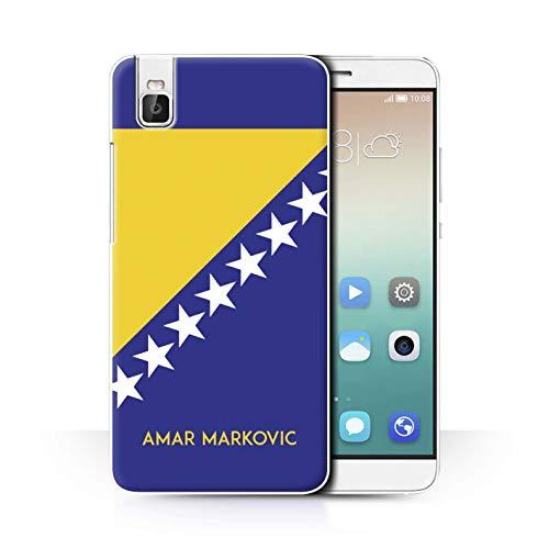 eSwish Personalisiert Persönlich National Nation Flagge 2 Hülle für Huawei Honor 7i/ShotX/Bosnien und Herzegowina Design/Initiale/Name/Text Schutzhülle/Hülle/Etui