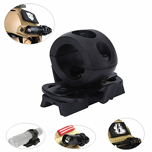 Vbestlife Helmet Flashlight Holder Mount  Tactical Airsoft Quick Release Flashlight Clamp Fit Fast Helmet Rail  Portable Plastic Torch Mount Flashlight Holder Bracket for Helmet Black