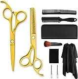 Kit de tijeras de corte de pelo amarillo 15,8 CM pulgadas tijeras de peluquero pintado mango recto tijeras de peluquería