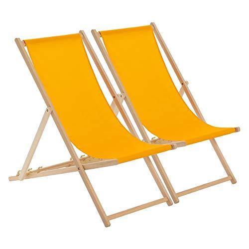 Harbour Housewares Transats pliants en Bois - Traditionnel/Ajustable - Plage/Jardin - Orange - Lot de 2