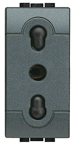 BTicino SL4180F Presa 2P+T 10/16A bipasso Serie Living International, Antracite