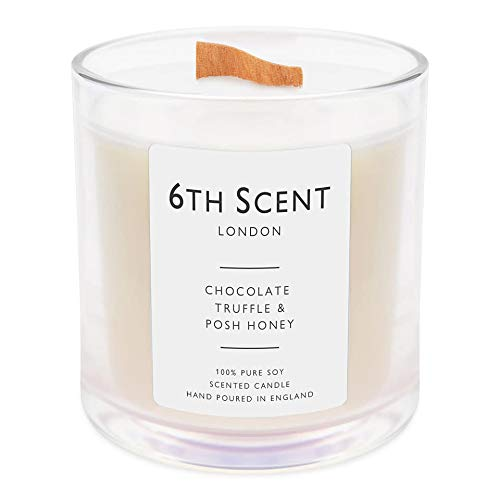 Scented Candles | Luxury Wood Wick Candle UK | Natural Soy | Burn Time: Up to 60 Hours | 845g (Chocolate Truffle & Posh Honey)
