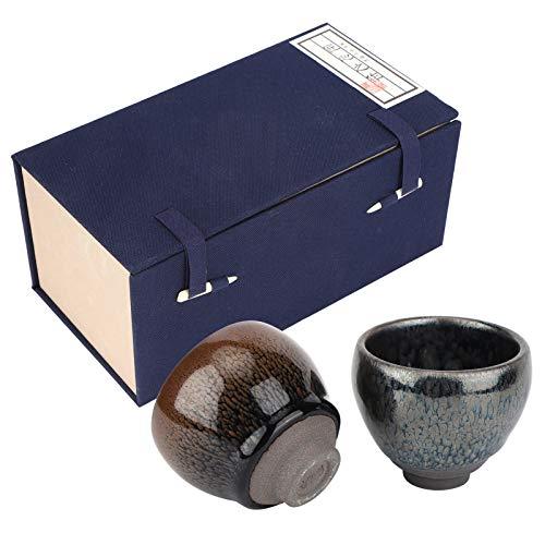 Juego de 2 tazas de té de cerámica de 4 oz, juego de tazas de té japonés con caja de regalo para juego de té de regalo