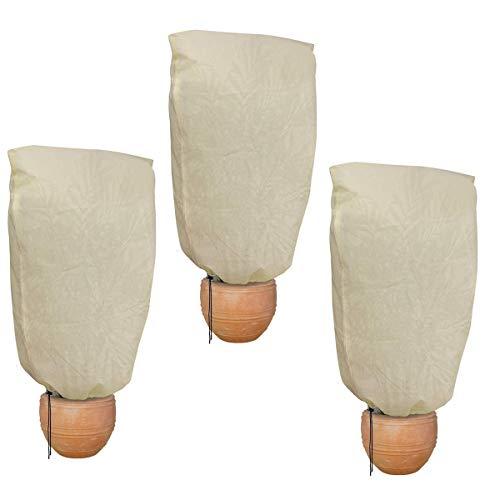 HH-LIFE 3pz Beige 80x100cm Sacchetti di Copertura per Piante Sacchetti di Protezione antigelo per Rivestimento di arbusti 60 g/m²