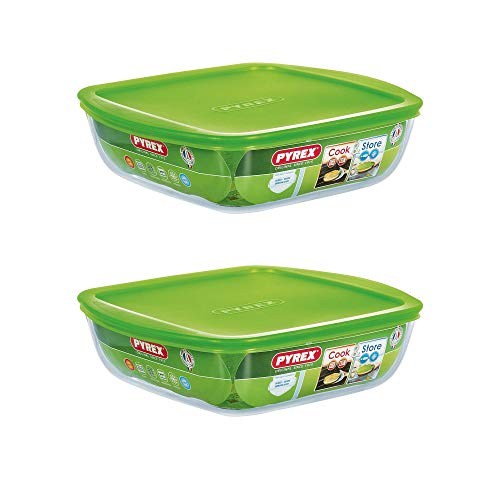 Pyrex Microwave Safe Classic Sqaure Glass Dish with Vented Lid 1 Litre Green (Pack of 2)