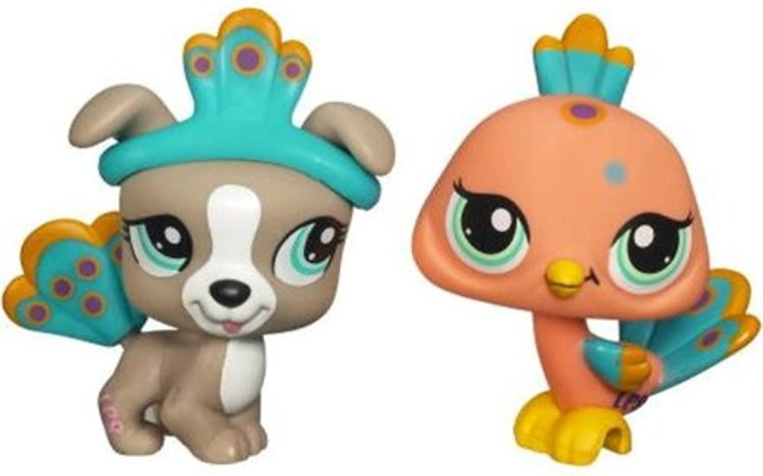 Littlest Pet Shop Collectible Figures Peacock & Pitbull