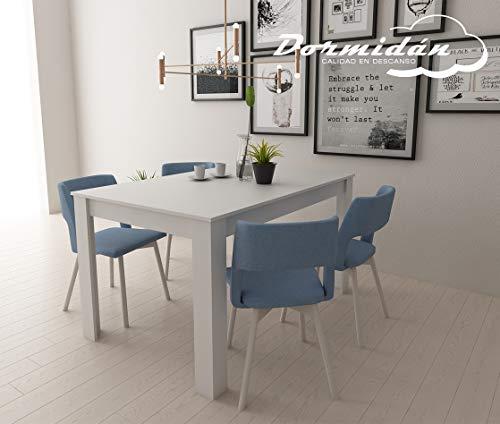 Dormidan- Mesa de Comedor Extensible, 90cm Ancho, Extensible de 135 a 185cm, (Blanco)