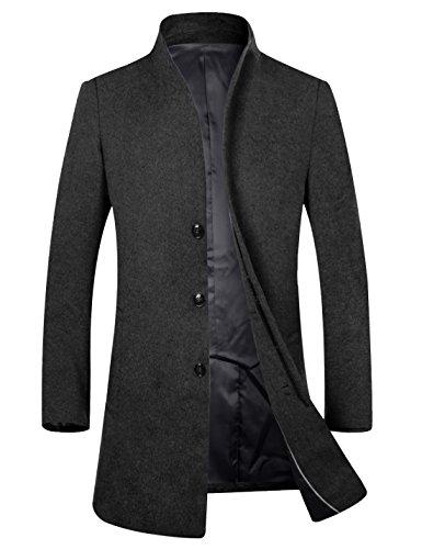 コート メンズ チェスターコート 冬 上質仕様 ビジネスコート オシャレ ロング丈 ウール 男性コート ブラック US L(日本サイズXLに相当)