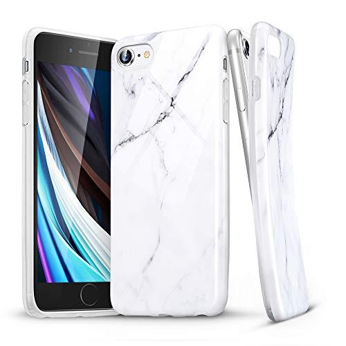 """ESR Marmor Hülle kompatibel mit iPhone SE(2020)/8/7, Schlankes weiches Flexibles TPU, Marmor-Muster Hülle für iPhone SE/8/7 4,7"""", Sierra Weiß"""