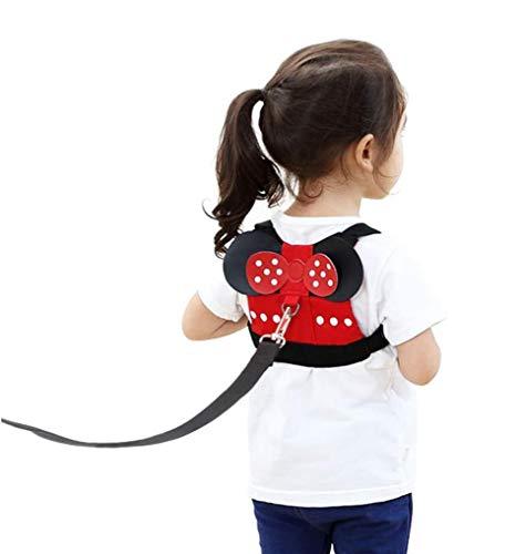 SQZW Harnais pour enfants, laisse anti-perte, harnais de sécurité pour enfants de 1 à 5 ans, garçons et filles à Disneyland, Mall ou Zoo – Minnie rouge