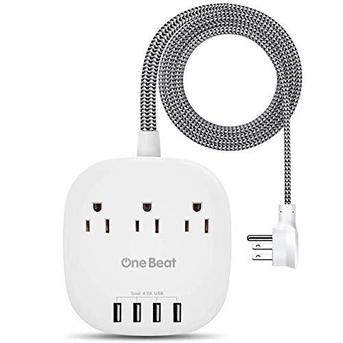 Desktop Power Strip with 3 Outlet 4 USB Ports 4.5A, Flat Plug and 5 ft Long Braided Extension Cords...