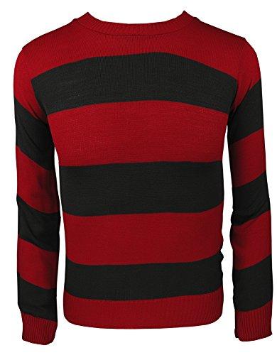 Maglione lavorato a maglia per adulti e bambini con personaggio maglioni casual spogliato top Maglione Rosso/Nero L