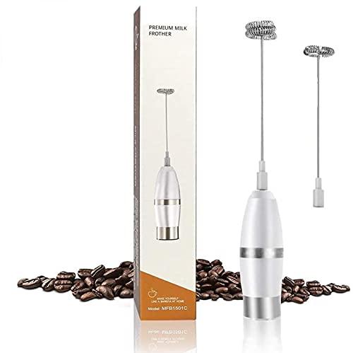 Elektrischer Milchaufschäumer, mit Doppeltem Quirl Edelstahl Metall Milk Frother Milchschaum für Kaffee/Latte/Cappuccino,leichte Reinigung,Batteriebetriebe,Extra starker Motor mit 19,000 U/min