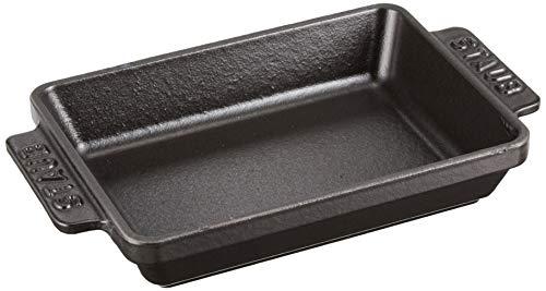 Staub 40509-548-0 Mini-Auflaufform, rechteckig 15 x 11 cm, 0,25 L mit mattschwarzer Emaillierung im Inneren der Auflaufform, schwarz